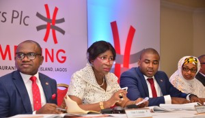 Managing Director/CEO, Africa Prudential Registrars Plc, Mr. Peter Ashade; Chairman, Chief(Mrs) Eniola Fadayomi; Company Secretary, Mr Musa Bello; and Director, Hajia Ammuna Ali,  at the 3rd Annual General Meeting of the company held in Lagos on Tuesday