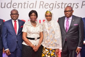 Managing Director/CEO, Africa Prudential Registrars Plc, Mr. Peter Ashade; Chairman, Chief(Mrs) Eniola Fadayomi; Directors, Hajia Ammuna Ali and Peter Elumelu,  at the 3rd Annual General Meeting of the company held in Lagos on Tuesday