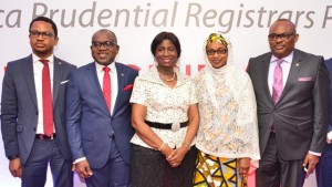 Director, Africa Prudential Registrars Plc, Mr. Samuel Nwanze; Managing Director/CEO, Mr. Peter Ashade; Chairman, Chief(Mrs) Eniola Fadayomi; Directors, Hajia Ammuna Ali and Peter Elumelu,  at the 3rd Annual General Meeting of the company held in Lagos on Tuesday