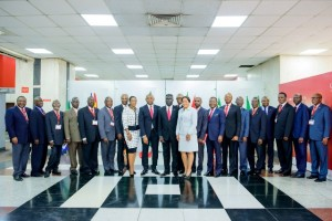 Group Chairman, Tony O. Elumelu ( 9th from left), GMD, Phillips Oduoza  (10th from left), Group Manaing Director Designate (15th  from left) Board Chairmen from the 18 subsidiaries in Africa and some members of Executive Management'