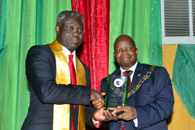 Outgoing GMD/CEO, UBA Plc Valedictory Lecture Speaker, Mr. Phillips Oduoza and  Professor Segun Ajibola, President, Chartered Institute of Bankers of Nigeria(CIBN);  at the 4th Valedictory Lecture in honour of Phillips Oduoza, organised by CIBN in Lagos on Friday