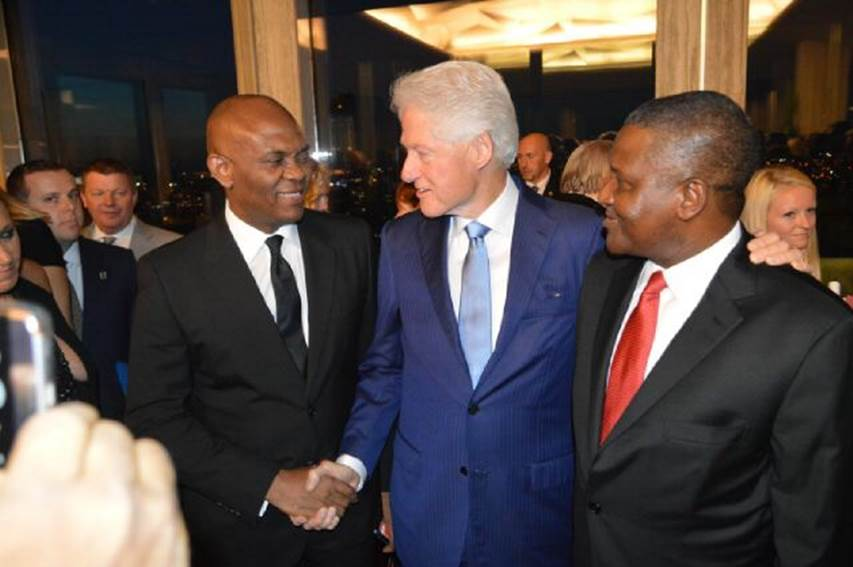 Mr. Tony Elumelu, Chairman United Bank for Africa (UBA Plc) and Heirs Holdings, a former President of the United States, Bill Clinton; and President, Dangote Group, Alhaji  Aliko Dangote during Clintons 70th birthday in the US.